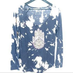 🌺 Lucky Brand Hamsa Custom Bleach Long Sleeve Top